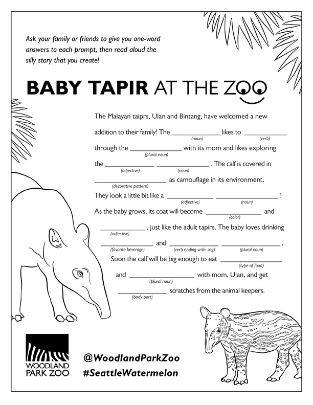 Baby Tapir Activity Packet
