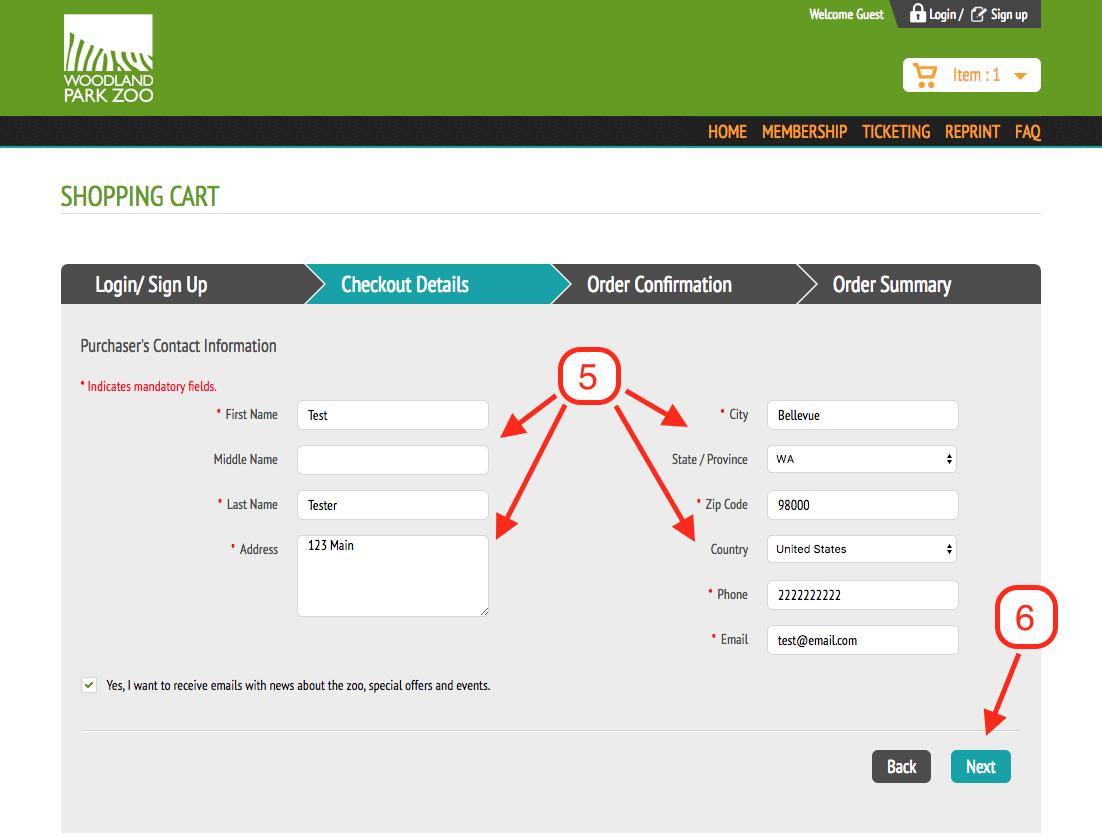 Cart - User Info
