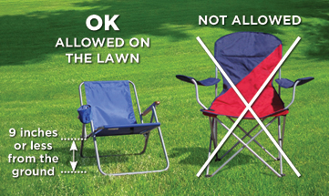 Low chairs for outdoor concerts